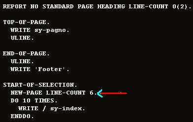 sap new-page statement and syntax