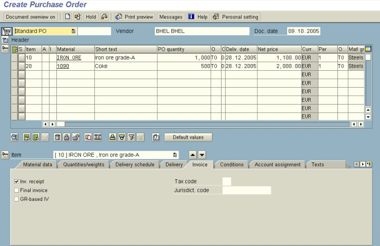 SAP MM - PURCHASING ORDER CREATION - ME21N - Screen 3