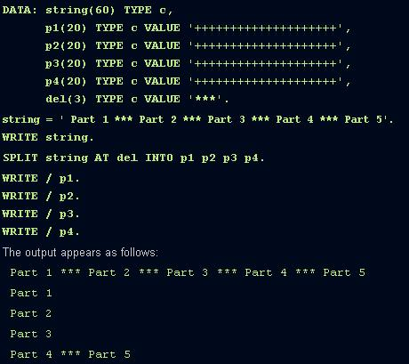 ABAP SPLIT string keyword