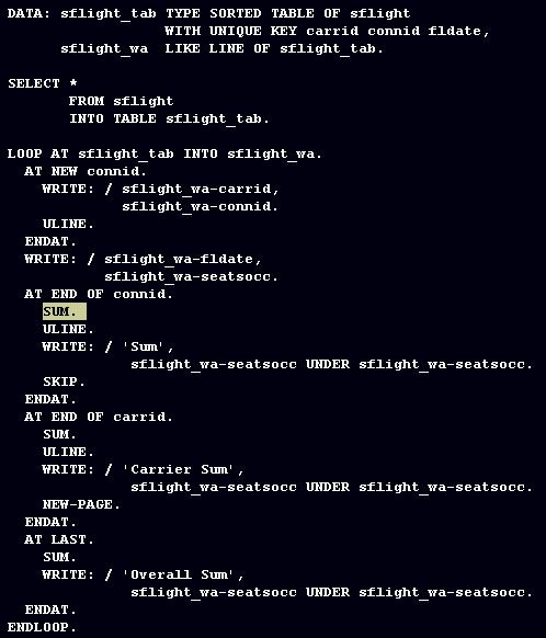 ABAP SUM statement