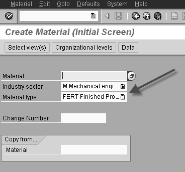 sap material creation screen with material type